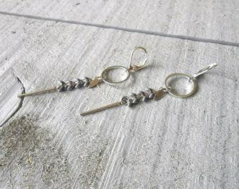 Silver Earring, ear enameled grey/silver chain