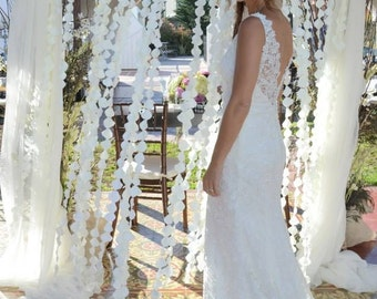 Ivory Flower Petal Strand Garland Curtain Backdrop