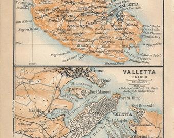 1911 Valletta & Malta Antique Map