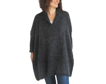 Plus Size Dark Gray Hand Knitted Sweater - Tunic - Sweater Dress by Afra