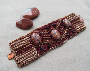 Wide Cuff Embroidered, bronze brown bracelet, Beaded bracelet, natural stone mass cabochon, Boho Cuff Jewelry Real Stone mass Cuff OOOK