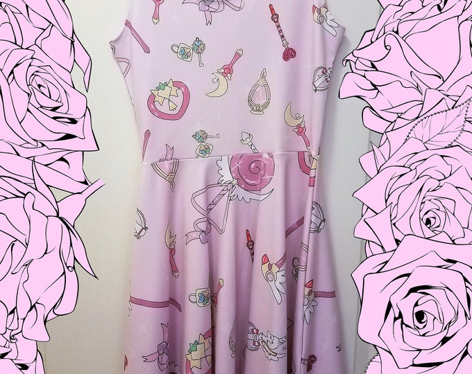 Kawaii magical girl wands print sleeveless skater dress