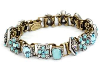 Blau, Link Armband, Aqua, Südwesten Land Armband, Cowgirl Link Armband Aqua, helle blaue Armband BR346-AQ
