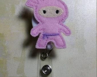 Pink Ninja Retractable Badge Reel / Retractable Landyard / Ninja ID Holder / Pink Ninja Name Badge / You Choose Reel Style