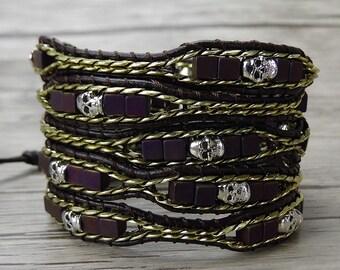 Skull bead Bracelet skull wrap bracelet bead wrap bracelet chain leather Bracelet Leather wrap bracelet chain bead bracelet Jewelry SL-0296