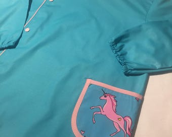 Turquoise blue activity or and arched Unicorn school blouse
