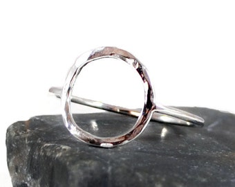 Karma Ring. Sterling Silver Ring. Hammered Ring. Open Circle Ring. Eternity Ring. Karma Jewelry. Birthday Gift For Her. Gift For Mother