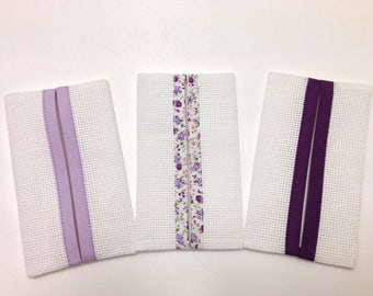 Set of 3 handkerchiefs case ready to embroider cross, color choice