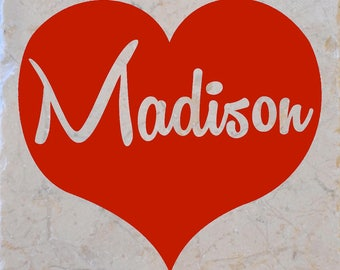 Red Madison Heart Coasters set of 4