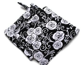 Handmade Quilted  Pot Holders set of 2 Roses Black White Potholders