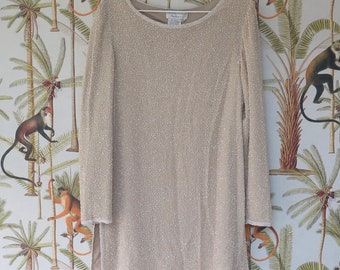 Vintage cream long sleeve bead embellished dress