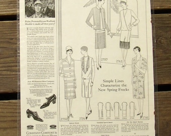 1927 Vintage NEEDLECRAFT MAGAZINE PAGE, laminated, placemat, fun decor