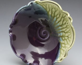 Dented Fluted Bowl - Eggplant Purple and Fern Green