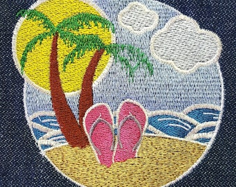 Machine Embroidery Design - Palm Tree Beach