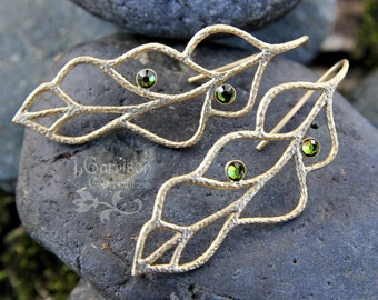 Olivine & Gold Leaves Earrings - Matte gold leaf outlines with olive green crystals - also in silver or black - free shipping USA