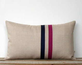Sangria and Navy Striped Pillow - 12x20 - Modern Home Decor by JillianReneDecor   Colorblock Stripes   Wine   Cranberry