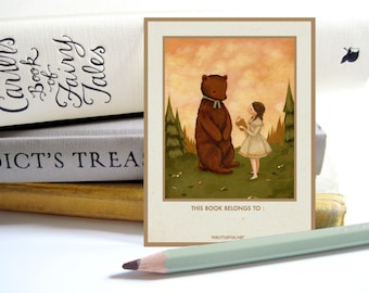 Personalized Bookplates - Customized Bookplate, Children's, Sticker, Label, Teacher, Librarian, Gift, Reader, Reading - A Story for Mr Bear