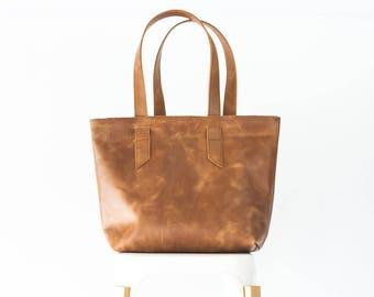 Brown vintage distressed leather tote bag, raw edge leather purse shopper bag shoulder womens large market bag unlined - Calisto bag