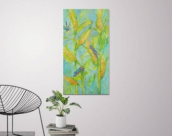 Large grasshopper corn harvest abstract original oil painting, wall decor, home decor, grasshopper art, large abstract painting, harvest art