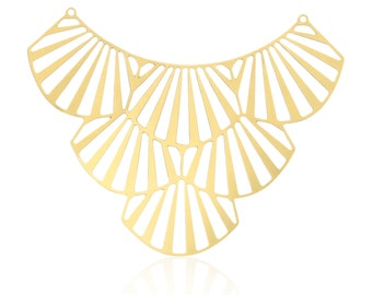 Art Deco Pendant, 1Pc, Large Gold Pendant, Art Deco Fan, Laser Cut Pendant, Unique Jewelry Findings, Gold Plated Connector, Art Deco Jewelry