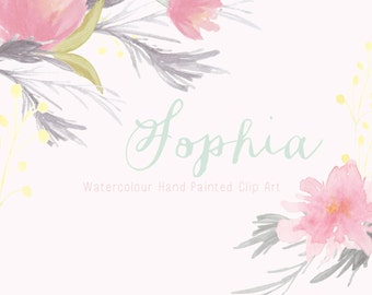Watercolour Hand Painted Clip Art - Sophia