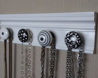 """READY to SHIP = FREE shipping Jewelry hangerThis necklace organizer has 4 large ceramic knobs in black and white 12"""" jewelery oranization."""