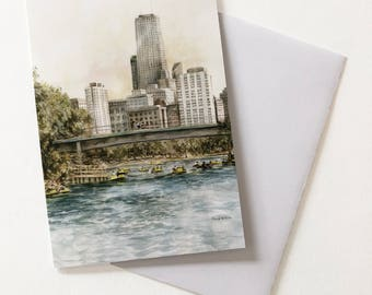 GREETING CARD! Lincoln Park Chicago Skyline and river with people paddle boating, Note Card with Envelope