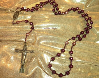 Custom Rosary Antique Gold Madonna Cross Crucifix Burgundy Pearl Glass Beads Handmade OOAK One of a Kind by TorresDesigns Gift Ready To Ship