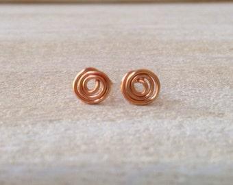 Copper Handcrafted Petite Spiral Stud Earrings Handmade Jewelry