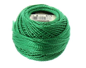 DMC 911 Size 5 Medium Emerald Green Pearl Cotton Embroidery Thread Ball