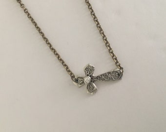 Cross choker vinatge inspired pendant handmade with  fine silver