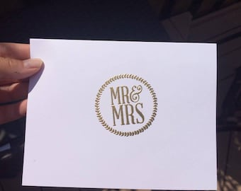Gold Embossed Mr and Mrs Card