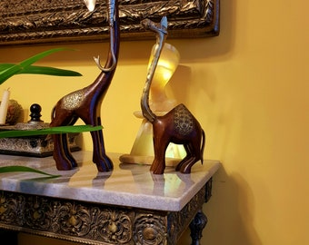 Vintage Wood and Brass Elephant and Camel Figurines (set of two)