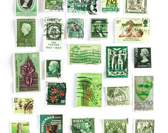 25 green, used postage stamps from 22 different countries, all off paper for collage, stamp collecting, decoupage, ephemera and crafting