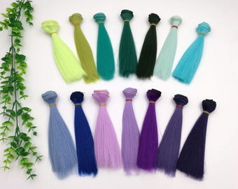 Doll Hair wefts for BJD/SD/Barbie/Monster high/Blythe doll making custom dolls synthetic hair doll wig green blue purple violet lake blue
