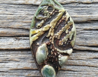 Rustic Cedar and Berries Leaf Pendant Stoneware Ceramic by Mary Harding