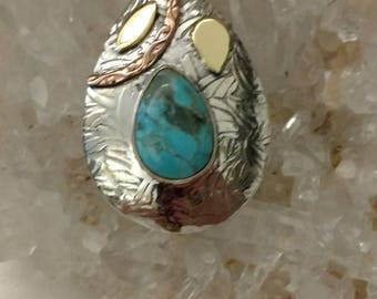 Sleeping Beauty Turquoise Abstract Pendant Necklace