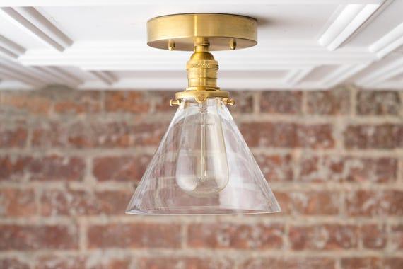 Semi Flush Ceiling Lights Glass Brass Fixture Bathroom: Modern Flush Lamp Ceiling Light Farmhouse Lighting Glass