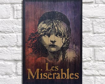 Movie posters Wood wall art Les Miserables Gifts for Women gift for men gift for Mother gift for daughter gift for sister Panel effect art