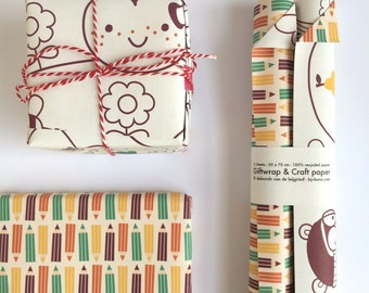 Giftwrap, craft paper and Coloringpage - color me! - ROLLED