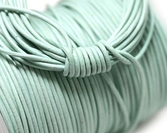 1mm Seafoam green Round Natural Leather cord - Light green leather cord - 10 feet, LC047