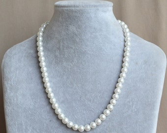 single strand pearl Necklace,glass pearl Necklace,Wedding Necklace,bridesmaid necklace,Jewelry gift,8 mm pearl necklace,round pearl necklace