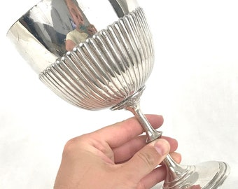 Antique Trophy Cup, Half Ribbed, Large Cup, Not Engraved, Silver Plated Award, Distressed Look, Philip Ashberry, Unique Decor Item, Interior