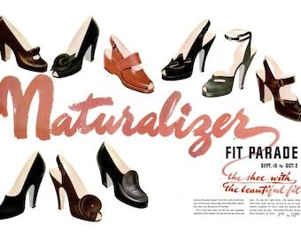 1948 Naturalizer Shoes Fashion Magazine Spread Poster Vintage Retro Rockabilly Pinup Girl High Heels Stiletto Pumps Footwear Closet Wall Art
