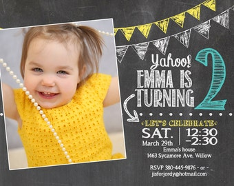 adorable chalkboard 2nd birthday invitation