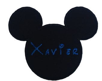 Mickey Mouse Patch, Mickey Mouse With Name Embroidery Applique Patch