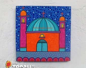 Original painting, acrylic on wood, Mexican Church. Original painting, decorative box, acrylic on wood, Mexican village church