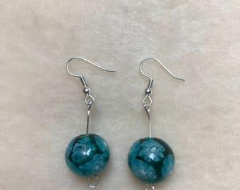 Blue Flower Earrings, Blue Floral Earrings, Flower Jewellery, Floral Jewellery, Blue Jewellery, Hand Crafted Earrings, Gift for Her