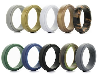 Men's Silicone Wedding Ring - Step Edge - 10 pack