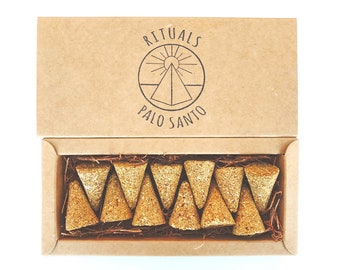 Palo Santo Cones . 12 Pack . All Natural . Hand Pressed . Rituals Incense